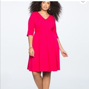 Eloquii Pleated Pintuck Fit and Flare Dress 14W